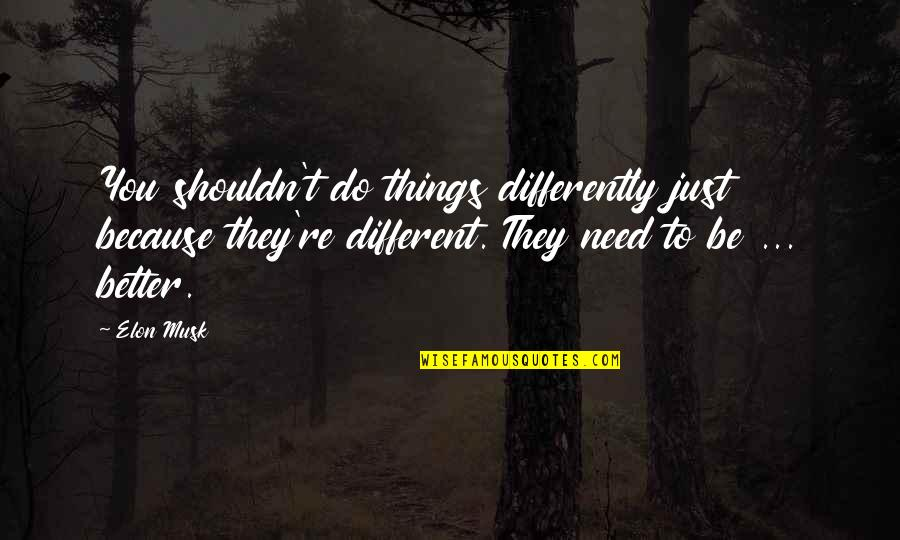 Better Things To Do Quotes By Elon Musk: You shouldn't do things differently just because they're