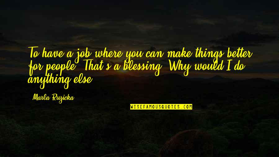 Better Things To Do Quotes By Marla Ruzicka: To have a job where you can make