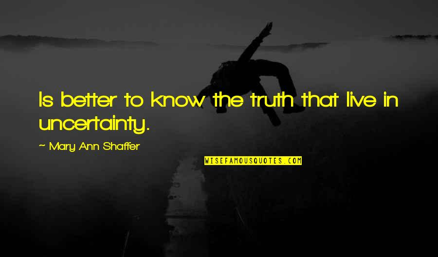 Better To Know The Truth Quotes By Mary Ann Shaffer: Is better to know the truth that live