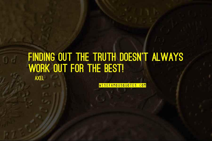 Betty Macdonald Quotes By Axel: Finding out the truth doesn't always work out
