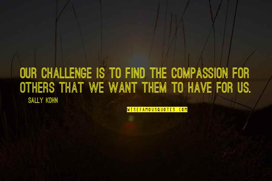 Bewusstsein Quotes By Sally Kohn: Our challenge is to find the compassion for