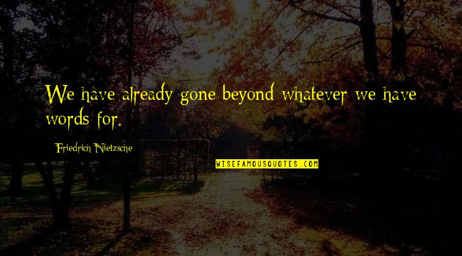 Beyond Words Quotes By Friedrich Nietzsche: We have already gone beyond whatever we have