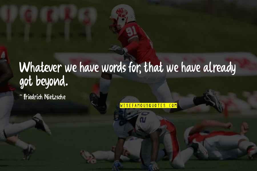 Beyond Words Quotes By Friedrich Nietzsche: Whatever we have words for, that we have