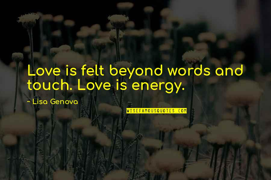 Beyond Words Quotes By Lisa Genova: Love is felt beyond words and touch. Love