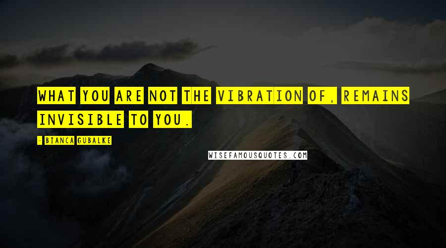 Bianca Gubalke quotes: What you are not the vibration of, remains invisible to you.