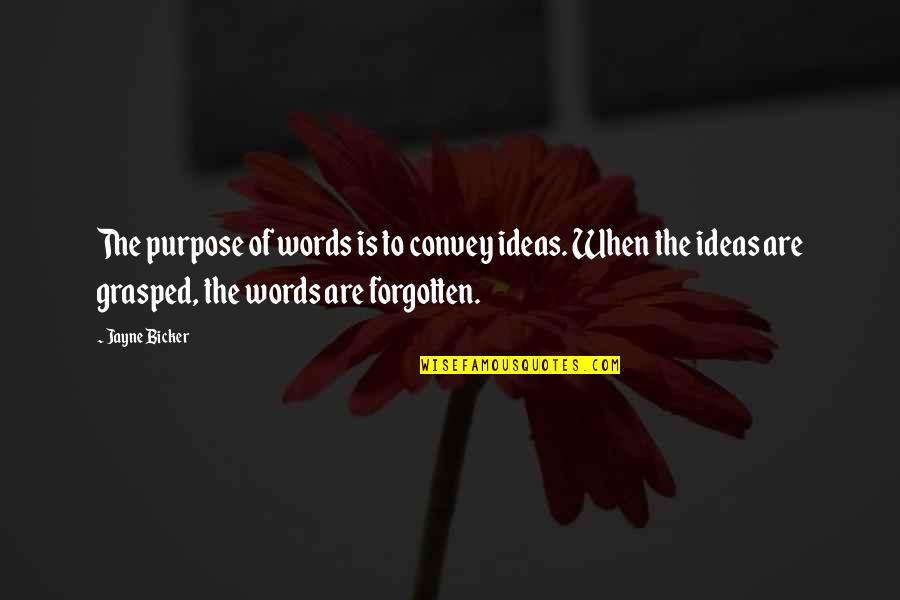 Bicker Quotes By Jayne Bicker: The purpose of words is to convey ideas.