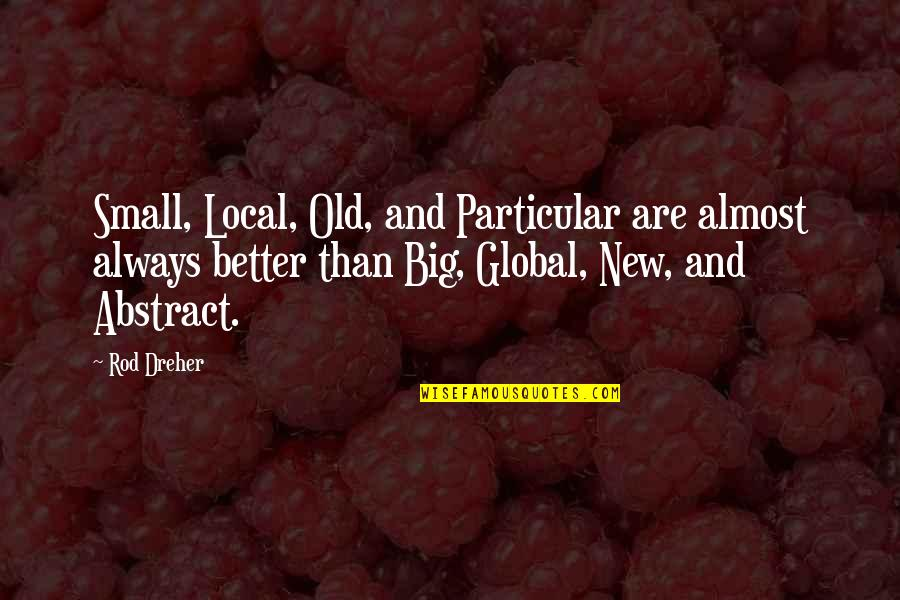 Big And Small Quotes By Rod Dreher: Small, Local, Old, and Particular are almost always
