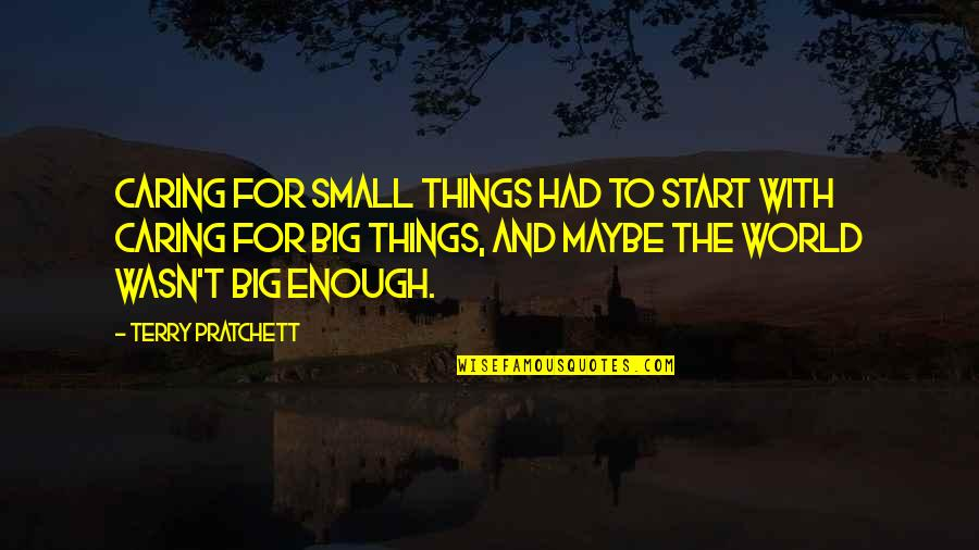 Big And Small Quotes By Terry Pratchett: Caring for small things had to start with