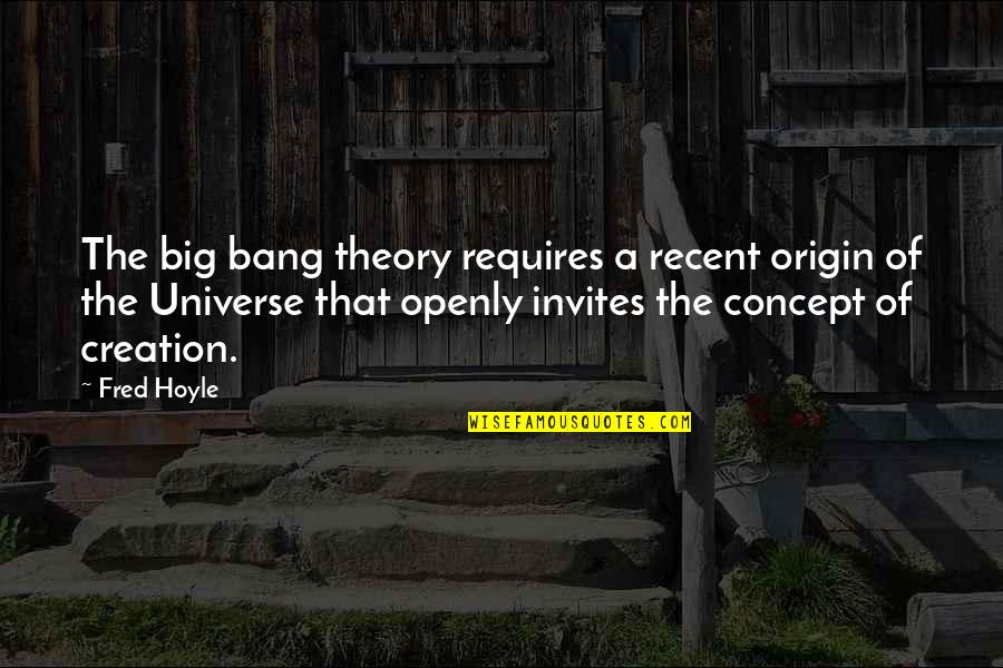 Big Bang Quotes By Fred Hoyle: The big bang theory requires a recent origin
