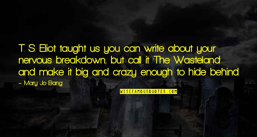 Big Bang Quotes By Mary Jo Bang: T. S. Eliot taught us you can write