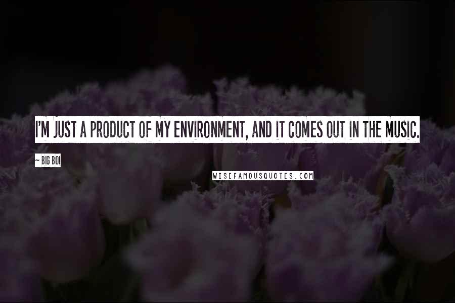 Big Boi quotes: I'm just a product of my environment, and it comes out in the music.