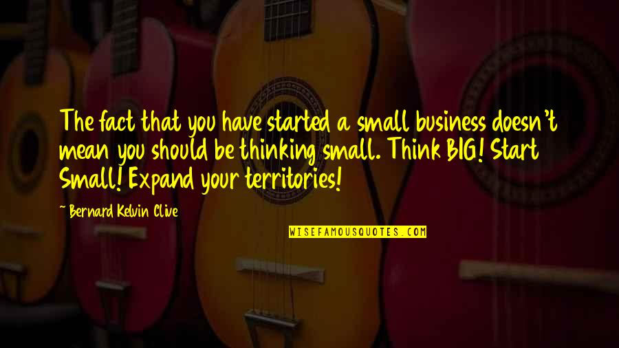 Big Brands Quotes By Bernard Kelvin Clive: The fact that you have started a small