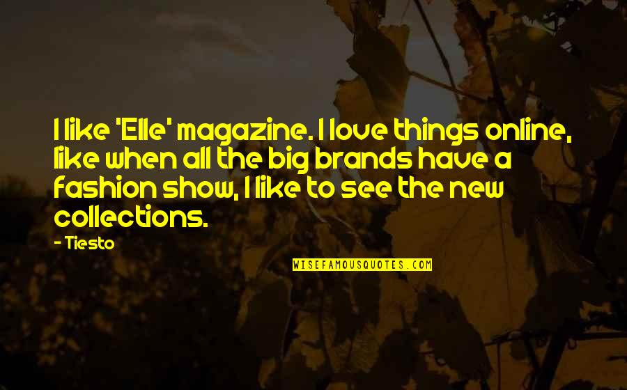 Big Brands Quotes By Tiesto: I like 'Elle' magazine. I love things online,