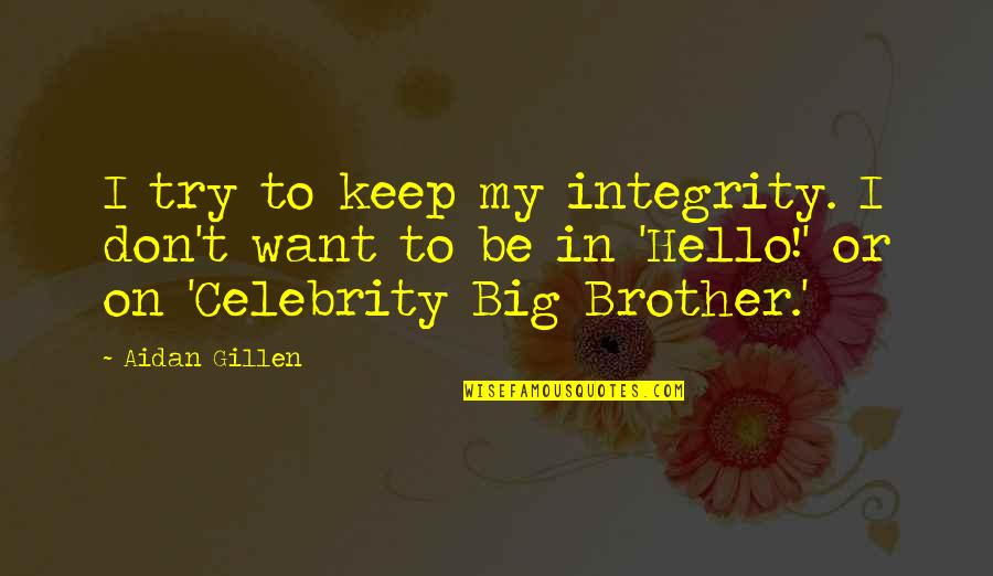Big Brother Quotes By Aidan Gillen: I try to keep my integrity. I don't