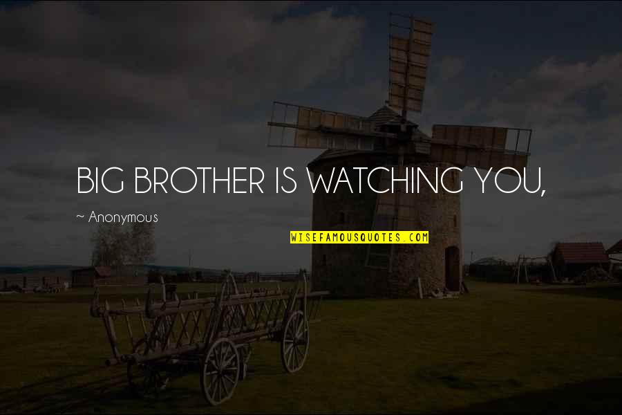Big Brother Quotes By Anonymous: BIG BROTHER IS WATCHING YOU,