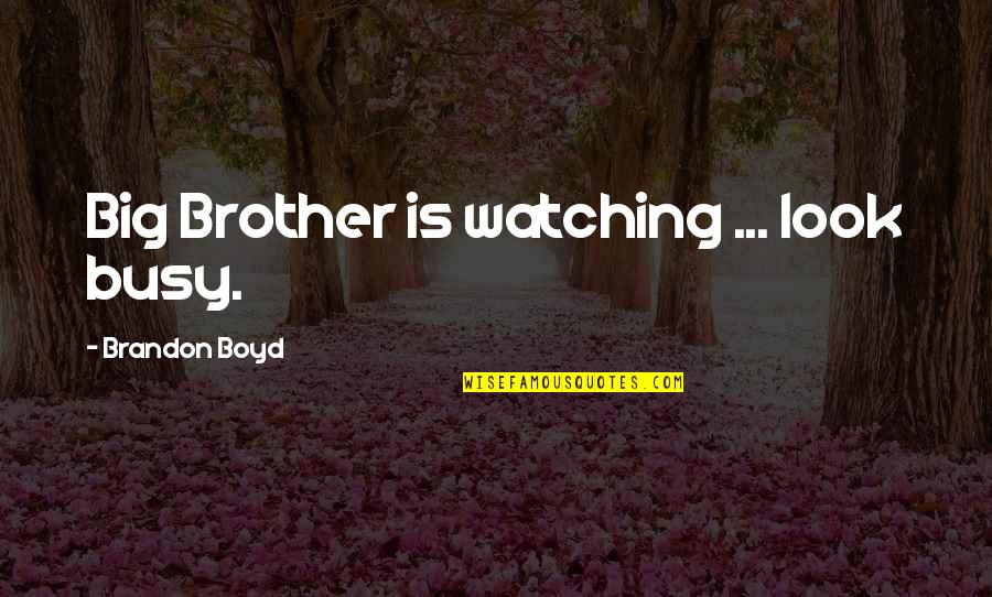 Big Brother Quotes By Brandon Boyd: Big Brother is watching ... look busy.