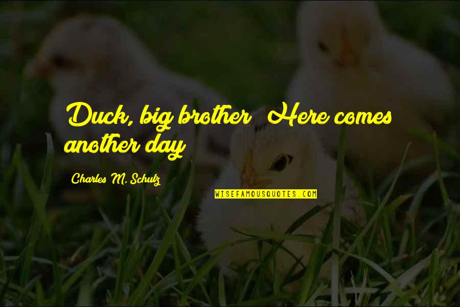 Big Brother Quotes By Charles M. Schulz: Duck, big brother! Here comes another day!