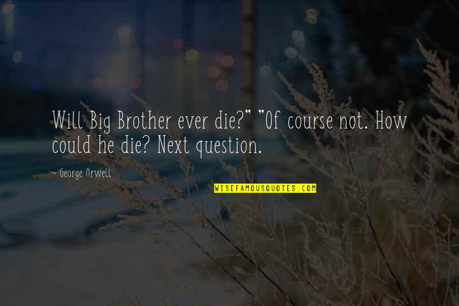 """Big Brother Quotes By George Orwell: Will Big Brother ever die?"""" """"Of course not."""