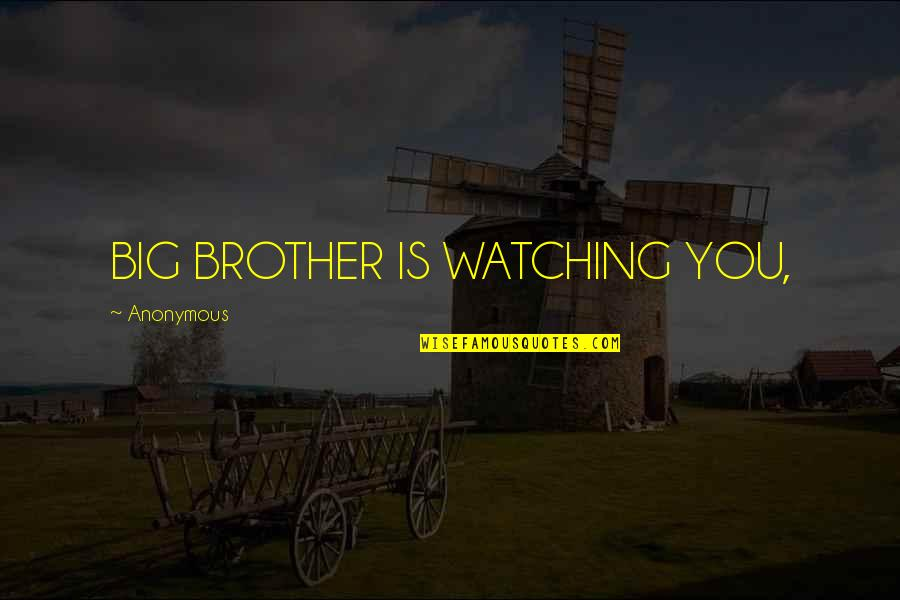 Big Brother Watching You Quotes By Anonymous: BIG BROTHER IS WATCHING YOU,