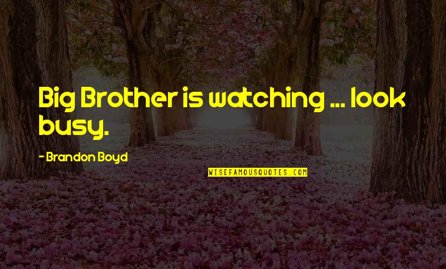 Big Brother Watching You Quotes By Brandon Boyd: Big Brother is watching ... look busy.
