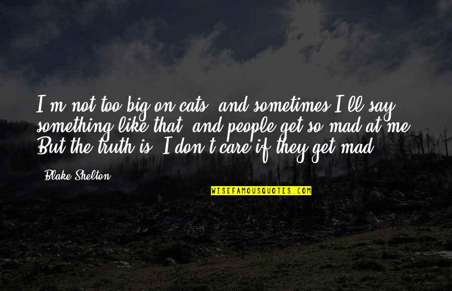 Big But Quotes By Blake Shelton: I'm not too big on cats, and sometimes