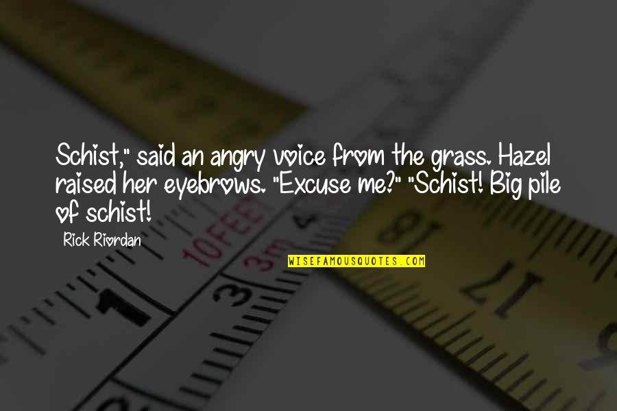 """Big Eyebrows Quotes By Rick Riordan: Schist,"""" said an angry voice from the grass."""