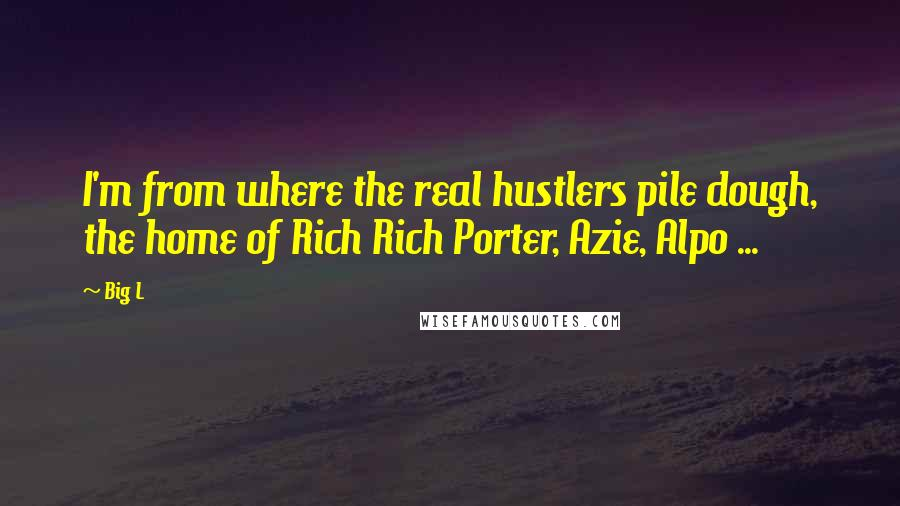 Big L quotes: I'm from where the real hustlers pile dough, the home of Rich Rich Porter, Azie, Alpo ...