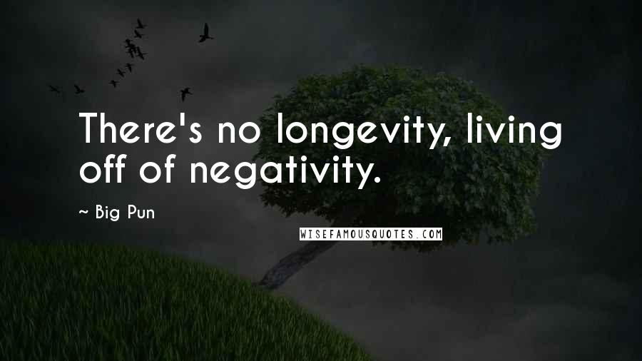 Big Pun quotes: There's no longevity, living off of negativity.
