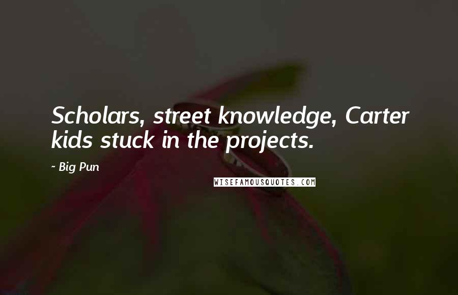 Big Pun quotes: Scholars, street knowledge, Carter kids stuck in the projects.