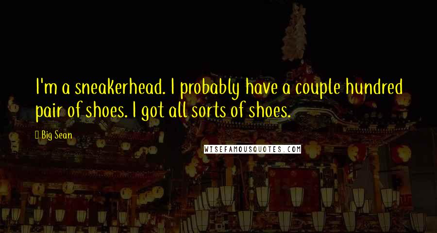 Big Sean quotes: I'm a sneakerhead. I probably have a couple hundred pair of shoes. I got all sorts of shoes.