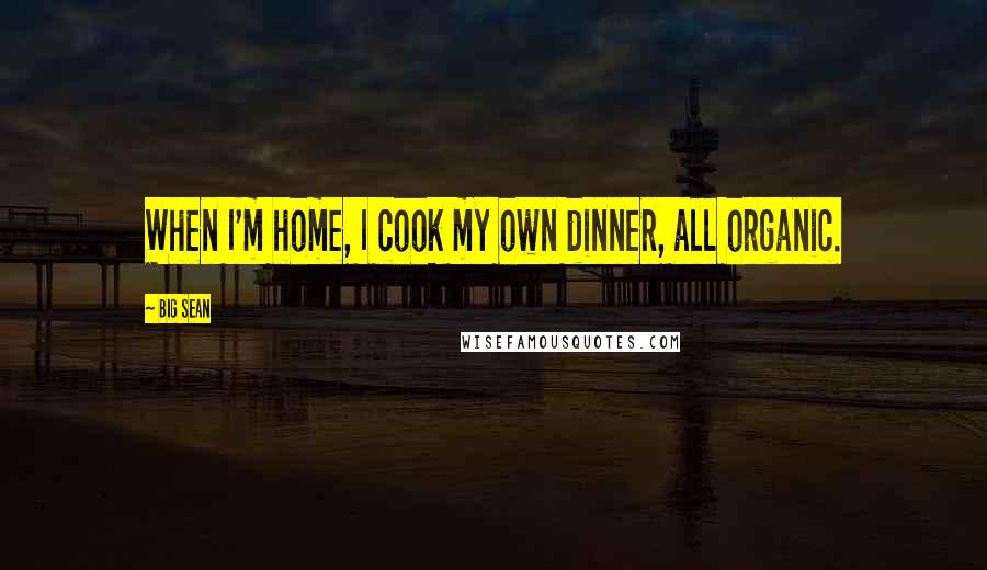 Big Sean quotes: When I'm home, I cook my own dinner, all organic.
