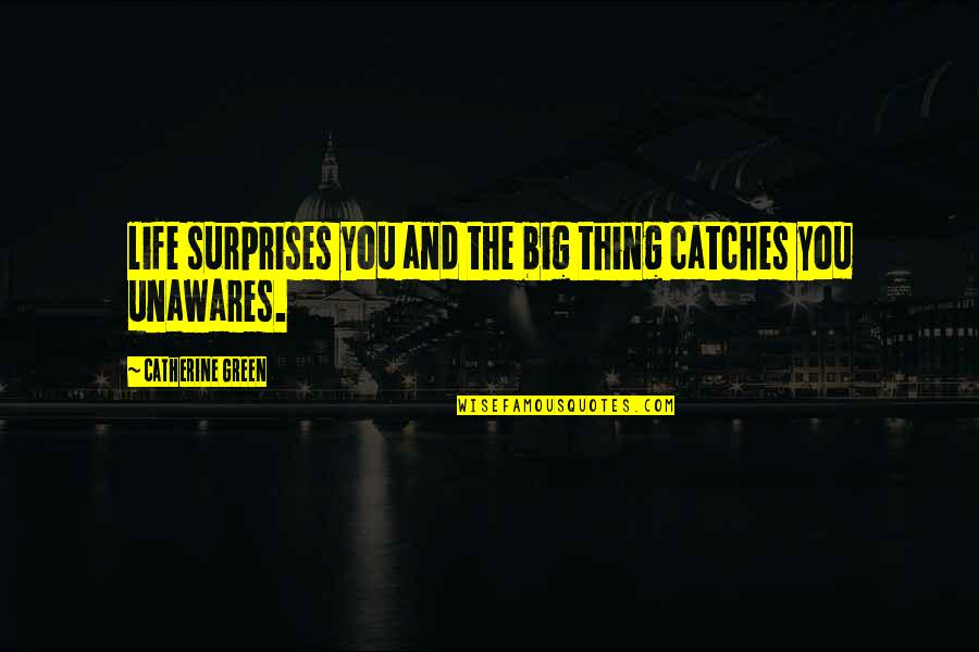 Big Surprises Quotes By Catherine Green: life surprises you and the big thing catches