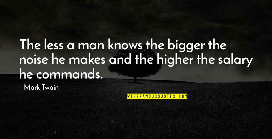 Bigger Man Quotes By Mark Twain: The less a man knows the bigger the