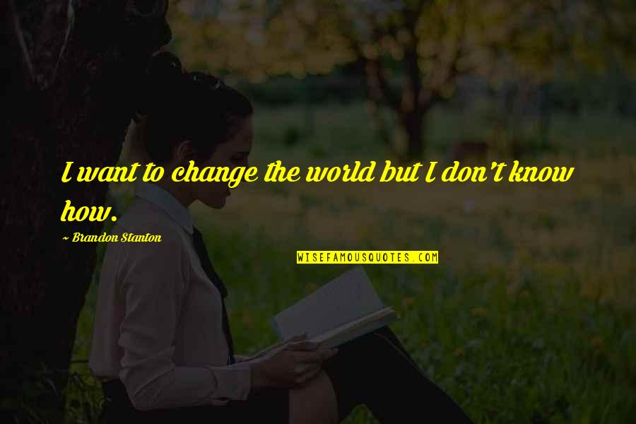 Bigness Quotes By Brandon Stanton: I want to change the world but I