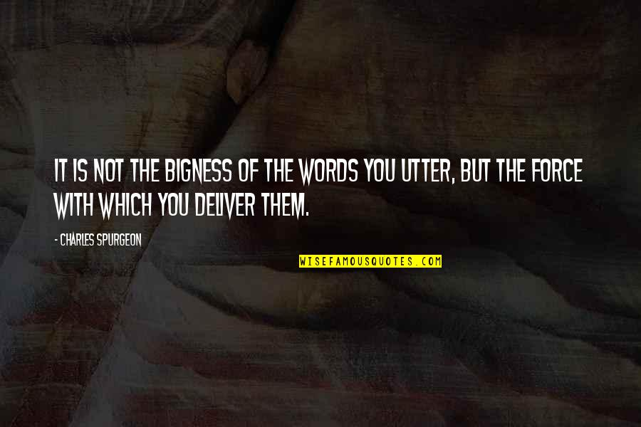 Bigness Quotes By Charles Spurgeon: It is not the bigness of the words