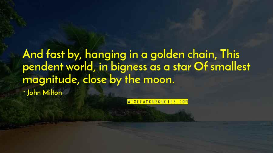 Bigness Quotes By John Milton: And fast by, hanging in a golden chain,
