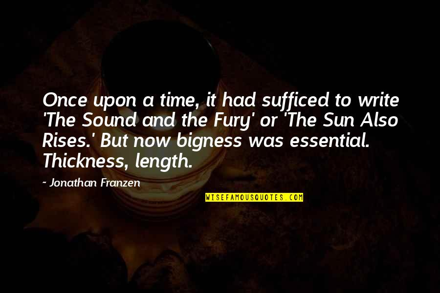 Bigness Quotes By Jonathan Franzen: Once upon a time, it had sufficed to