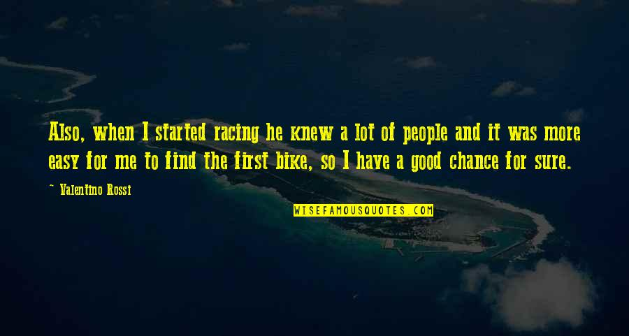 Bike Racing Quotes By Valentino Rossi: Also, when I started racing he knew a