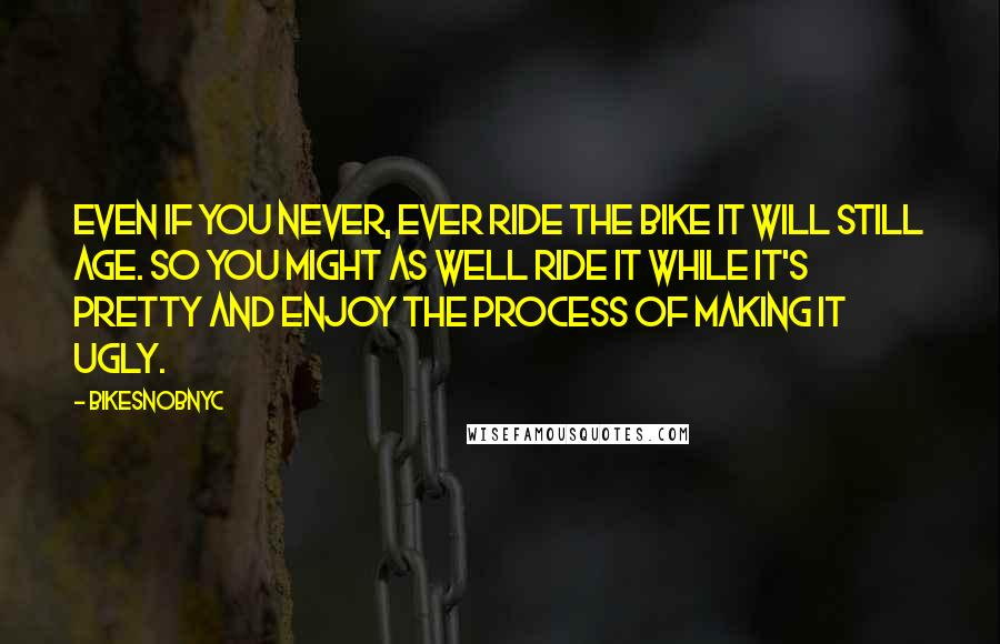 BikeSnobNYC quotes: Even if you never, ever ride the bike it will still age. So you might as well ride it while it's pretty and enjoy the process of making it ugly.