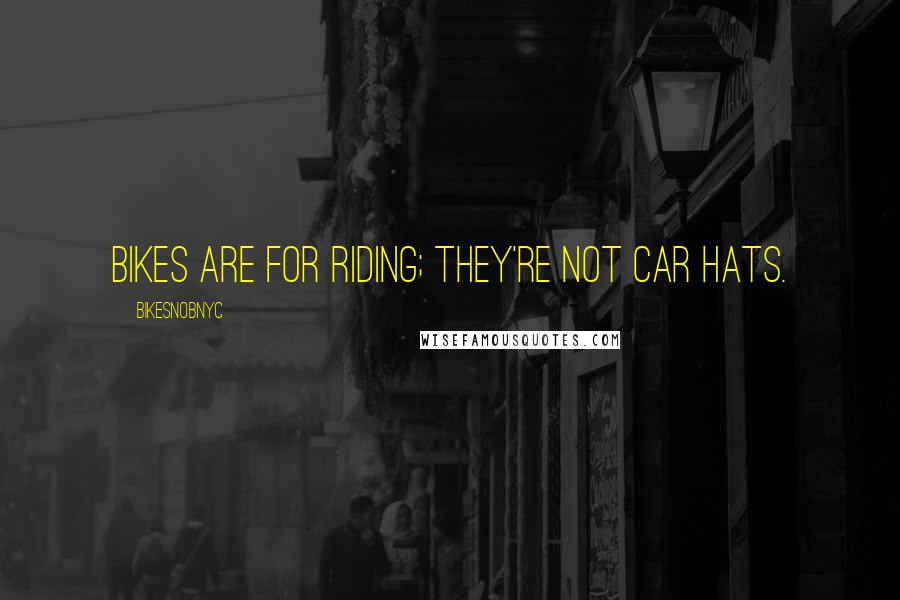 BikeSnobNYC quotes: Bikes are for riding; they're not car hats.
