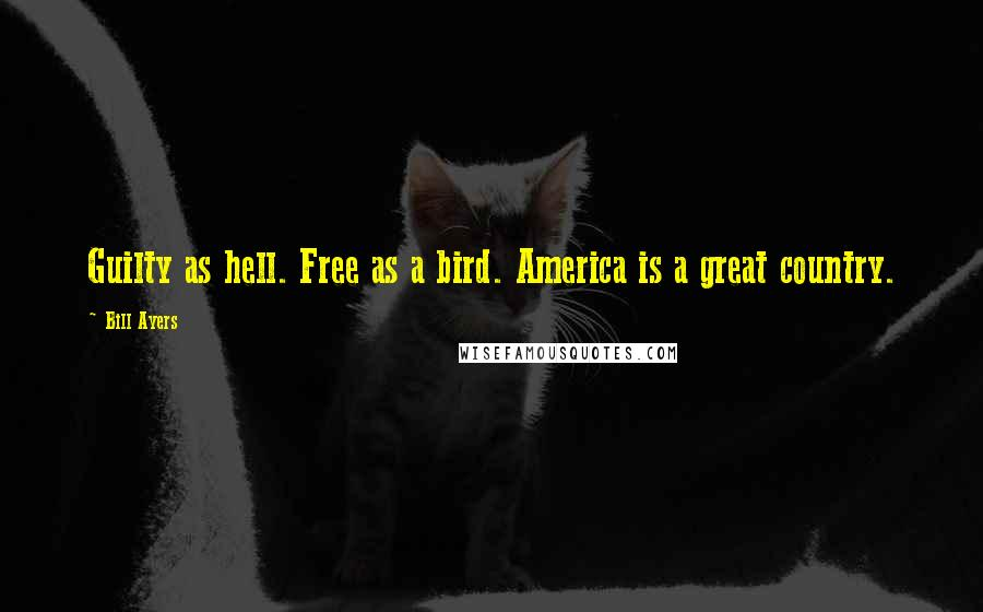 Bill Ayers quotes: Guilty as hell. Free as a bird. America is a great country.