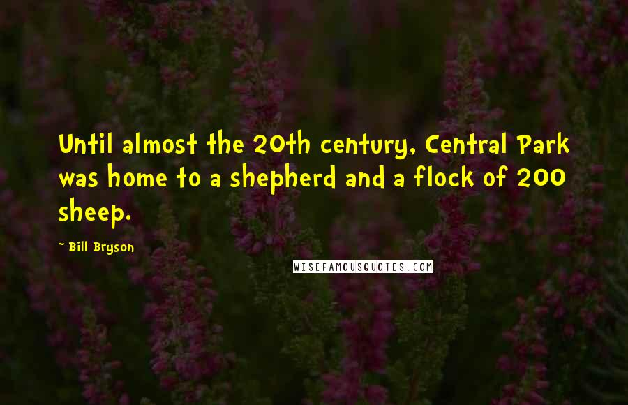 Bill Bryson quotes: Until almost the 20th century, Central Park was home to a shepherd and a flock of 200 sheep.