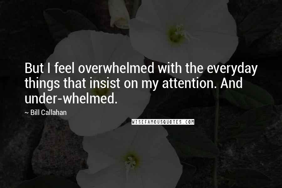 Bill Callahan quotes: But I feel overwhelmed with the everyday things that insist on my attention. And under-whelmed.