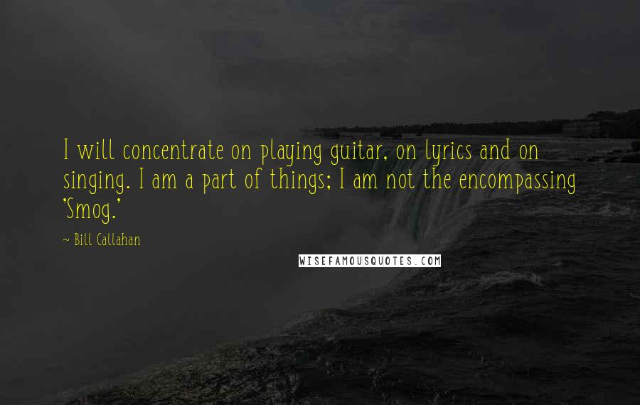 Bill Callahan quotes: I will concentrate on playing guitar, on lyrics and on singing. I am a part of things; I am not the encompassing 'Smog.'