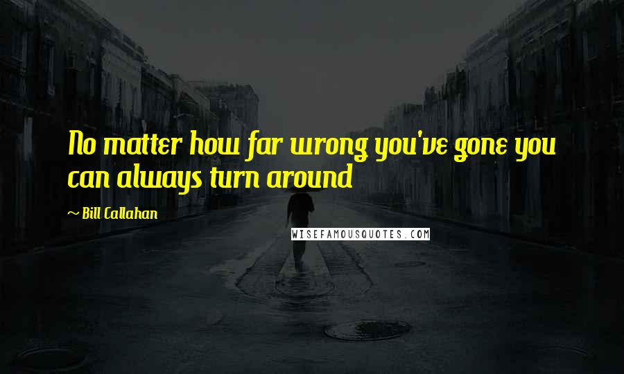 Bill Callahan quotes: No matter how far wrong you've gone you can always turn around