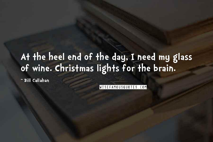 Bill Callahan quotes: At the heel end of the day, I need my glass of wine. Christmas lights for the brain.