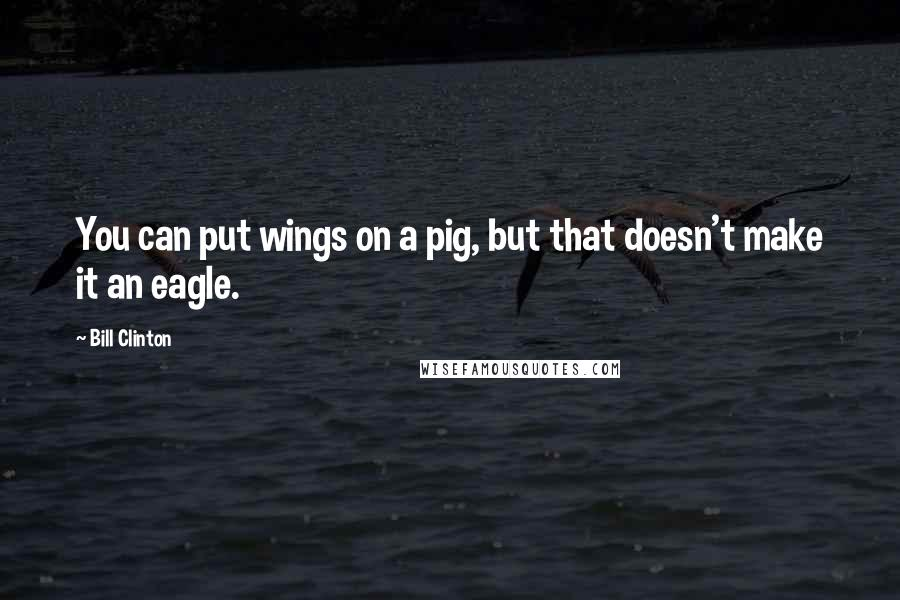 Bill Clinton quotes: You can put wings on a pig, but that doesn't make it an eagle.