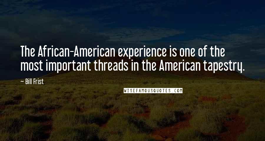 Bill Frist quotes: The African-American experience is one of the most important threads in the American tapestry.