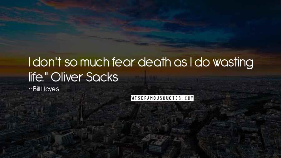 "Bill Hayes quotes: I don't so much fear death as I do wasting life."" Oliver Sacks"
