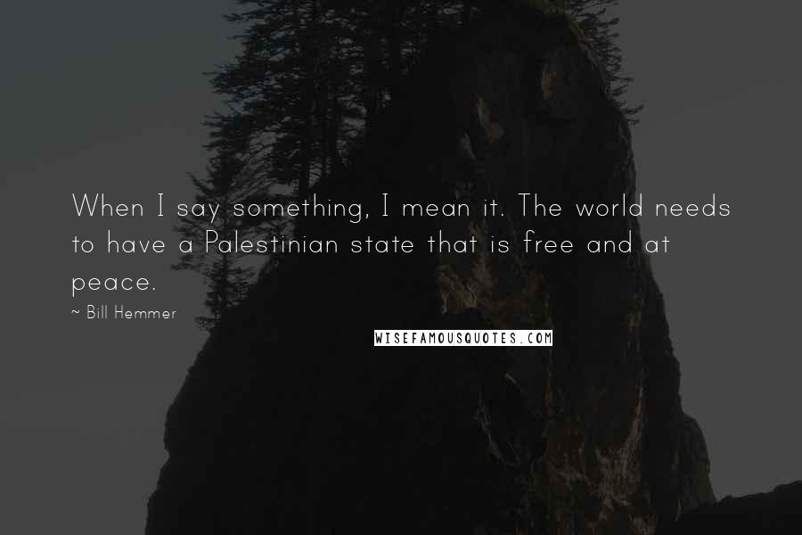Bill Hemmer quotes: When I say something, I mean it. The world needs to have a Palestinian state that is free and at peace.